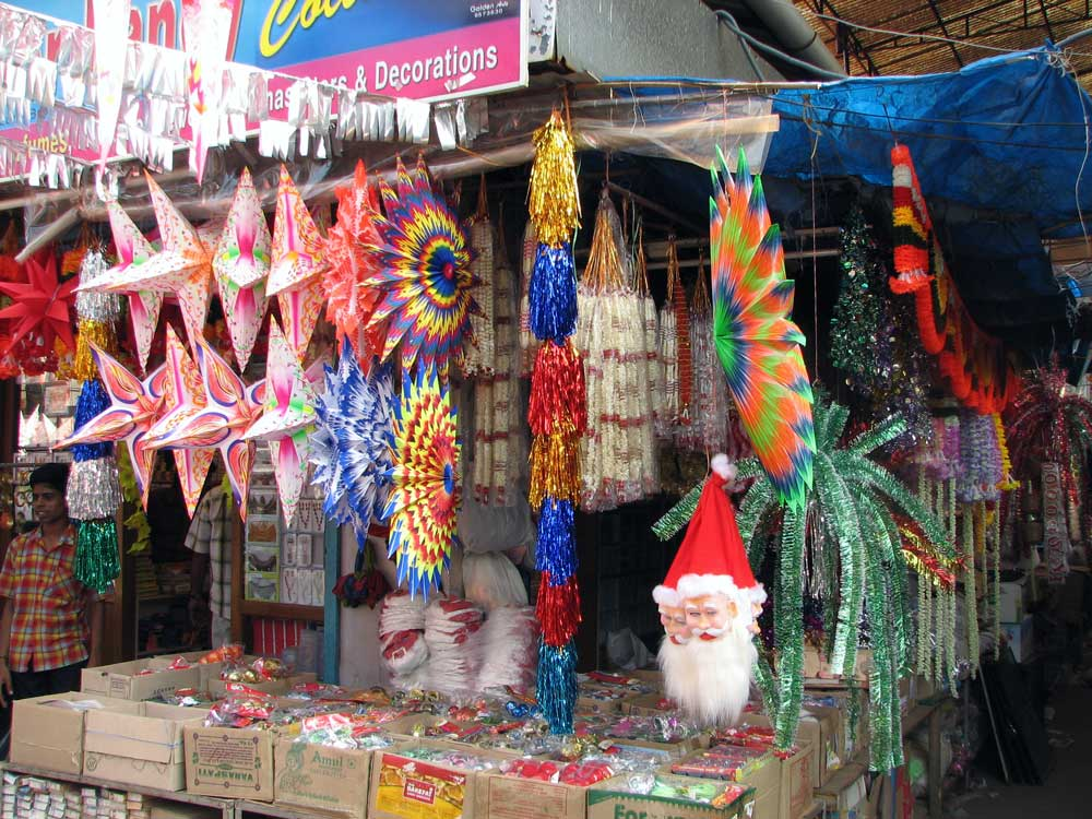 Christmas decorations for sale in India.